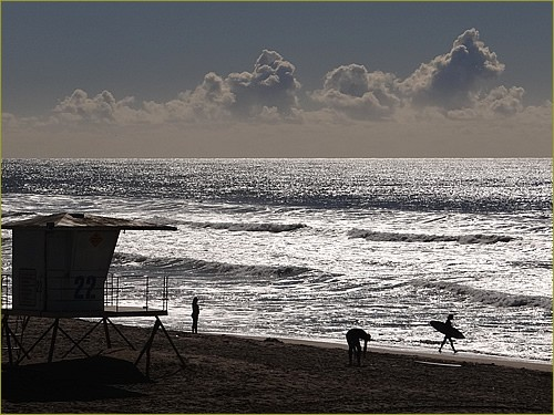Huntington Beach surfer in december
