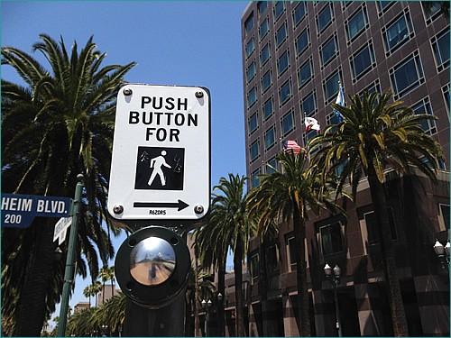 Push button for walk.