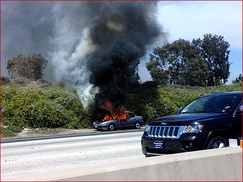 Vehicle fire on the freeway