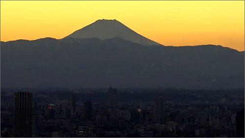 東京タワーからみる富士山の夕焼け