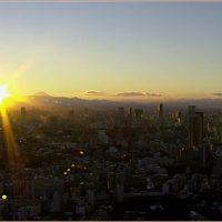 東京タワーから見える富士山の夕景