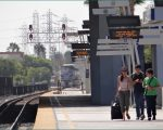 Amtrak Train announcement at Anaheim Station California USA